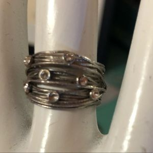 Silver wire and crystal ring